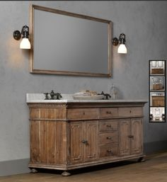James Single Extra-Wide Vanity:We've translated the architectural classicism of turn-of-the-century design into an artisan-crafted collection for the bath. Single Sink Vanity, Vanity Sink, Double Vanity, Bath Vanities, Wood Bathroom, Bathroom Furniture, Master Bathroom, Bathroom Ideas, Small Bathroom