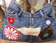 Denim Recycled Redesigned Boho Cool Bag from by ThreadbarePrincess, $45.00