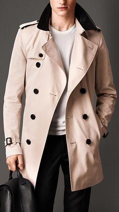 Leather Collar Cotton Gabardine Trench Coat | Burberry