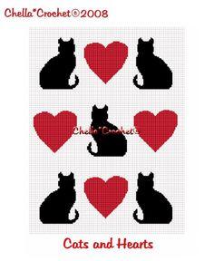 Free Crochet Cat Afghan Pattern | CHELLA*CROCHET Cat Cats Heart Hearts Afghan Crochet Pattern Graph ...