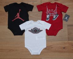 Air Jordan Baby Boy 3 Piece Bodysuit Set ~ Black, Red & White ~ 23 ~ #Jordan #AirJordan #Jumpman #23 #BabyBoy
