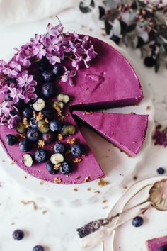 Raw Blueberry Cheesecake - Vegan World Raw Vegan Cake, Raw Vegan Desserts, Raw Cake, Köstliche Desserts, Vegan Sweets, Raw Food Recipes, Delicious Desserts, Yummy Food, Vegan Raw