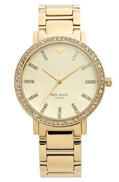 'gramercy grand' pavé bezel bracelet watch, 38mm / kate spade new york