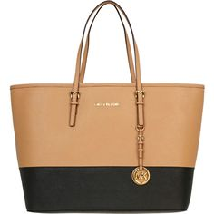 Michael Kors Jet Set Travel Medium Two-Tone Tote Bag