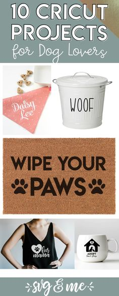 I CANNOT wait to make a couple of these dog Cricut project ideas! Love how simple they are too - easy enough for a beginner! DIY dog food storage, bandanas, pet memorial candles and more. Plus almost all of them come with free SVG files so it couldn't be easier to copy! #cricut #dog #silhouette