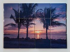 Ceramic Tile Mural, Miami Palms Sunrise Design, Kitchen Backsplash, Decorative Bathroom Tile Bathrooms, Wall Décor, Wall Hanging