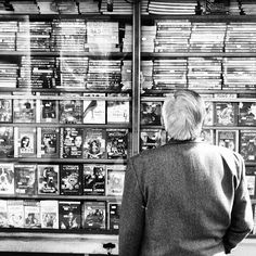 kung fu by Roberto Marchesini, via Flickr | street scene people + dvd's + black white grey + iphoneography