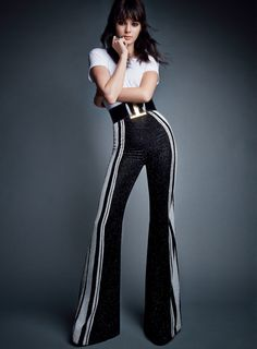 Kendall Jenner in American Vogue wearing 70s-inspired high-waist flares