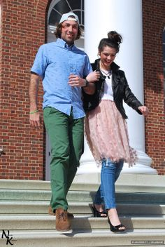 RJ and Sara on the steps of Memorial wearing clothes from Switch and Grassroots styled by @UDress Magazine