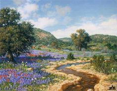 Somerset Fine Art - Hill Country - Four Faces of Texas by Larry Dyke Spring Landscape, City Landscape, Watercolor Landscape, Landscape Paintings, Nature Paintings, Texas Hill Country, Country Art, Landscape Pictures, Old Barns