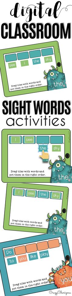 Have you been looking for fun 1:1 Sight words activities to use in Google Classroom? Try this digital teaching resource - MONSTERS. Help students become more comfortable with reading 50 sentences with high-frequency words. Use the Google Classroom packet in kindergarten, first grade and second grade during your literacy block, daily 5, guided reading, spelling, RTI, or during literacy centers. Paperless resources can be fun! | CrazyCharizma Sight Word Activities, Kindergarten Activities, Classroom Activities, Preschool, Learning Activities, Sight Word Sentences, Sight Words, Sight Word Practice, High Frequency Words