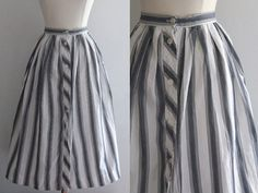 1950s Striped Skirt / Vintage 50s 60s by SavvySpinsterVintage, $46.00