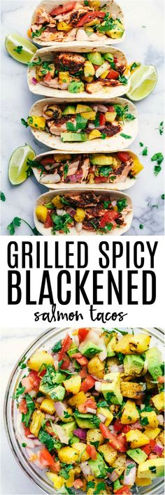 Grilled Spicy Blackened Salmon Tacos are grilled to perfection with a delicious spicy crust. They get topped with a fresh grilled pineapple avocado salsa. These tacos are fresh and light and the fla (Grilling Recipes Salmon) Pineapple Recipes, Salmon Recipes, Fish Recipes, Mexican Food Recipes, Dinner Recipes, Healthy Recipes, Pineapple Salmon, Spicy Seafood Recipes, Seafood Dishes