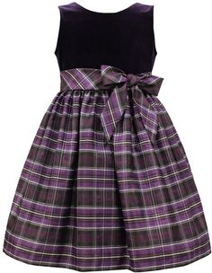 Look at this Jayne Copeland Eggplant Plaid Velvet Dress - Girls on today! Girls Coral Dress, Girls Formal Dresses, Little Girl Dresses, Little Girl Fashion, Fashion Kids, Cute Outfits For Kids, Toddler Outfits, Sewing Kids Clothes, Girl Dress Patterns