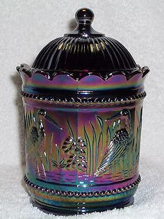 *WRIGHT GLASS ~ rare amethyst Carnival Glass, Stork Rushes, Sugar Bowl w/ lid