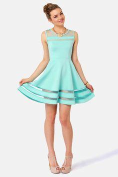 Unique Mint Blue Dress - Mesh Dress - Striped Dress - $44.00