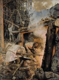 The Forging of the Sampo. Painting by Akseli Gallen-Kallela, depicting a scene from Kalevala, a Finnish epic poem. Smith Ilmarinen is forging the magical mill called Sampo, a centerpiece in many of Kalevala's stories. Helene Schjerfbeck, Asgard, Romanticism, Gods And Goddesses, Blacksmithing, Folklore, Art Reproductions, Les Oeuvres, Fantasy