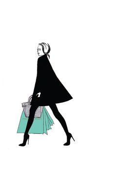 Watercolour illustration Titled Shopping at by FallintoLondon