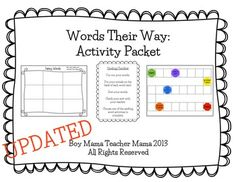 25+ different activities students can practice their spelling words. Works perfectly with Words Their Way, but can be used for any spelling program.
