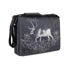 "Laurex 17"" Laptop Messenger Bag - Gray Elk ($80) ❤ liked on Polyvore featuring bags, messenger bags, grey, padded laptop bag, padded bag, grey messenger bag, gray messenger bag and laptop bags"