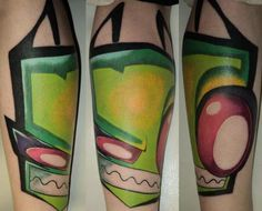 Melissa Mooney's Invader Zim leg piece. Done by DaPirate Mike.