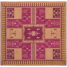 Classic Vintage Fuchsia/Gold (Pink/Gold) 6 ft. x 6 ft. Square Area Rug