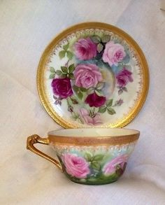 Limoges Flower Handle Roses Handpainted Gold Guild Tea Cup And Saucer