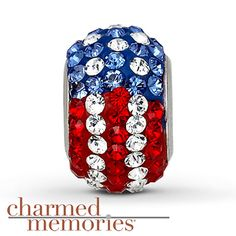 From the Charmed Memories collection, this patriotic sterling silver charm features red, white and blue SWAROVSKI ELEMENTS.