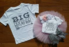 Brother Sister Matching Shirts with Tutu and Headband. Sibling shirts, Matching brother sister outfits for photos and baby take home outfit.