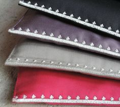 MaiTai's Picture Book: Carré pochettes in black, mauve, taupe and hot pink. 100% brushed cotton, made in France.