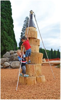 Rope helps kids climb up and down the log climbers. Backyard Play, Play Yard, Outdoor Play Spaces, Outdoor Toys, Playground Design, Outdoor Playground, Kids Climbing, Landscape Architecture, Classical Architecture