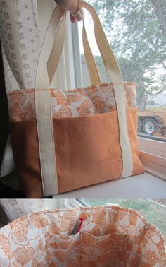 Super Easy Tote Bag- tutorial from Poppyseed Fabrics (http://poppyseedfabrics.blogspot.com/2011/02/super-easy-tote-bag-tutorial.html). This is SUPER easy and SUPER cute--I love it except that it is small!!!! You can't tell from the photo but I'm not sure what you'd do with this, maybe more like a purse than a tote bag. I'm about to make one much bigger to use for school. #Totes
