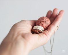 Collar de cerámica con bola de ganchillo joyería estilo por idniama