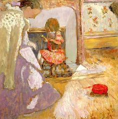 The Red Ball of Wool, c.1903-05 (oil on board), Vuillard, Edouard (1868-1940)