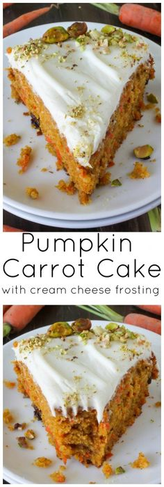 Pumpkin Carrot Cake with Cream Cheese Frosting - this is my FAVORITE carrot cake recipe ever! Make it and you'll know why!