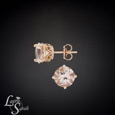 Rose Gold and Morganite Stud Earrings Morganite by LaurieSarahDesigns, $824.93