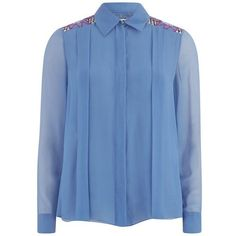 Matthew Williamson Women's Georgette Embroidered Shirt - Forget Me Not (1610 TND) ❤ liked on Polyvore