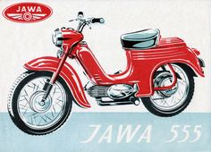 JAWA two-stroke, air-cooled Number of cylinders: single Bore: 38 mm Stroke: 44 mm Cylinder capacity: c. Vintage Advertisements, Vintage Ads, Vintage Posters, Moped Scooter, Motorcycle Posters, Old Motorcycles, Motor Scooters, Car Colors, 50cc