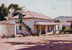 Afternoon ? by Capelight, via Flickr Farm Paintings, Landscape Paintings, Pioneer House, Barn Pictures, Urban Painting, Building Painting, Building Illustration, Artistic Tile, South African Artists