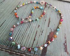 Ultra Dainty crochet necklace - Tiny Treasures Multi - colorful precious semi precious gemstone layering necklace boho by slashKnots