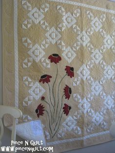 Neutrals quilt with applique | Natalia Bonner at Piece N Quilt