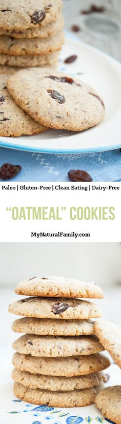 """This Paleo """"Oatmeal"""" Cookies Recipe is chewy, soft and healthy. I eat them for snacks and desserts all the time! {Clean Eating, Gluten Free, Dairy Free}"""