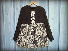 LXL Artsy Silk Poet Blouse // Upcycled Top// Black by emmevielle, $65.00