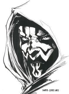My Inks over Darth Maul pencils. Darth Maul copyright George Lucas.