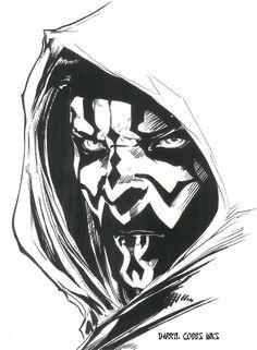 My Inks over Darth Maul pencils. Darth Maul copyright George Lucas.