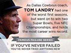 Tom Landry : former head coach of the Dallas Cowboys. I've been a Dallas Cowboys fan my entire life. Dallas Cowboys Coaches, Nfl Coaches, Cowboys 4, Dallas Cowboys Football, Sports Teams, Football Team, Famous Failures, Tom Landry, Keep On Keepin On