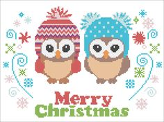 BOGO FREE! CHRISTMAS Owls  Merry Christmas cross stitch pattern:  owls- cross stitch pdf Pattern - pdf pattern instant download  #187 by Rainbowstitchcross on Etsy