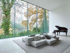 Living Divani, Journal Du Design, Living Spaces, Living Room, Modular Sofa, Minimalist Living, Glass House, Home And Family, Family Room