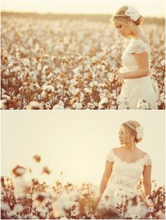 bridals in a cotton field. how truly Southern? I love this.