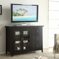 $292 48W x 20D x 36H in Convenience Concepts Sierra Highboy TV Stand - Black - Anchor your living room space around the Convenience Concepts Sierra Highboy TV Stand - Black, a confident piece of furniture that has so much to ...